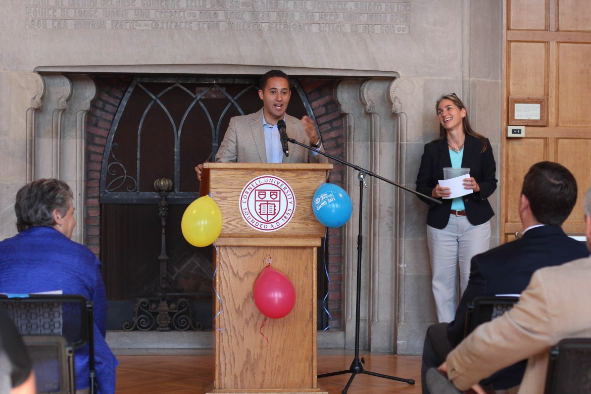 Svante Myrick '09 speaks at the Cornell Student United Way Kick Off.