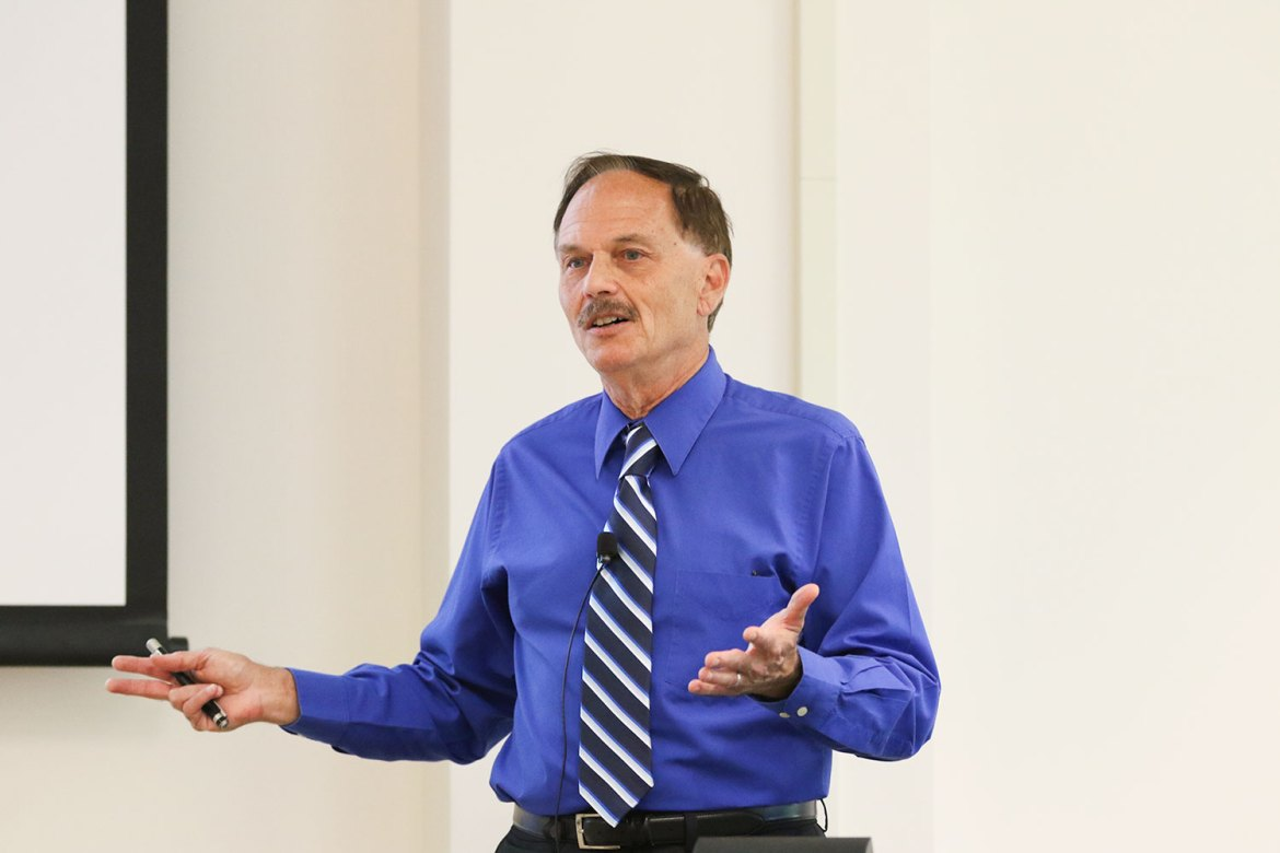 Prof. Rodney Dietert, immunotoxicology, discusses his research on the human microbiome in Mann Library Thursday.