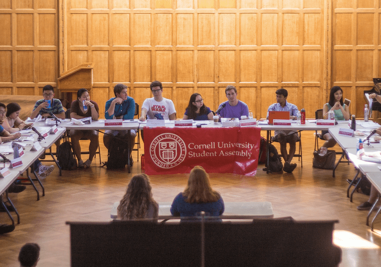"Student Assembly (pictured at a September meeting) voted down a resolution on Thursday that was aimed at increasing faculty ""ideological diversity"" at Cornell"