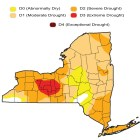 The red region, which includes Ithaca, shows area of extreme drought as of Oct. 18.