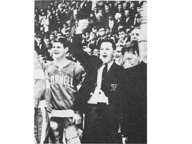 Though no longer alive, Ned Harkness (right), coach of the 1967 NCAA Champion men's hockey team, will be honored on the 50th anniversary of the title win the weekend of Jan. 28-29.