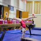 Gymnastics scored a school-record 194.450 points to come away on top in this past weekend's quad meet.