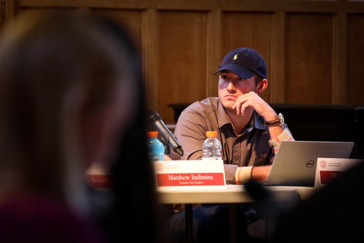 "Mitch McBride '17, pictured at a Student Assembly meeting in February, will argue that he did not ""misuse"" University documents at his hearing today."