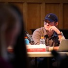 """Mitch McBride '17, pictured at a Student Assembly meeting in February, will argue that he did not """"misuse"""" University documents at his hearing today."""