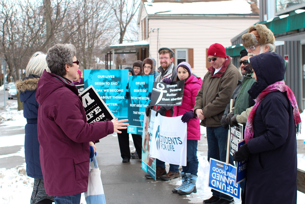 Ithacans protest to defund Planned Parenthood in February.