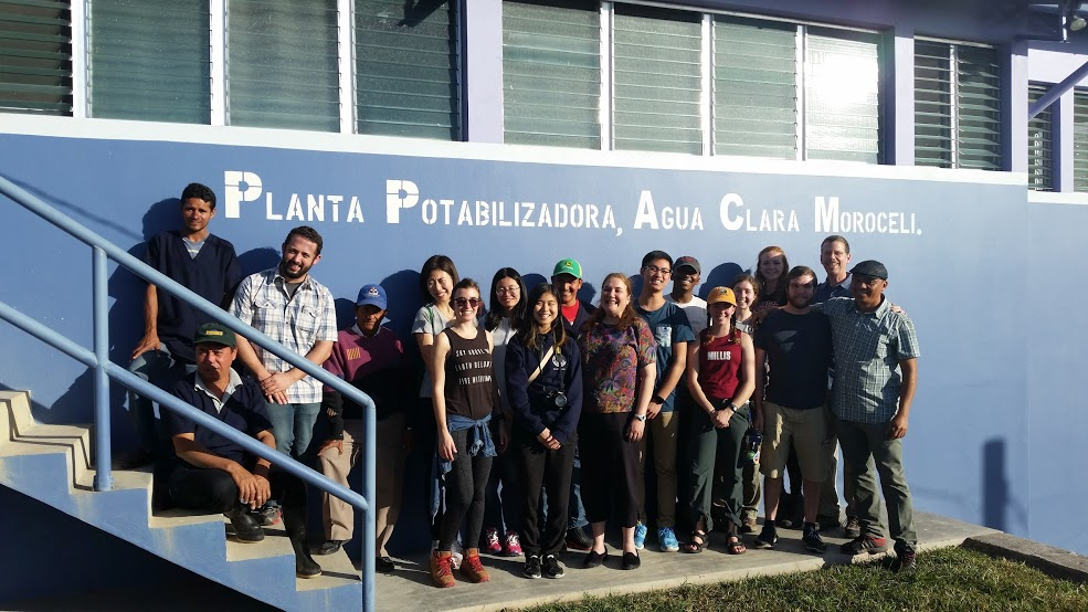 The AguaClara team at one of their drinking water treatment plants in Honduras.