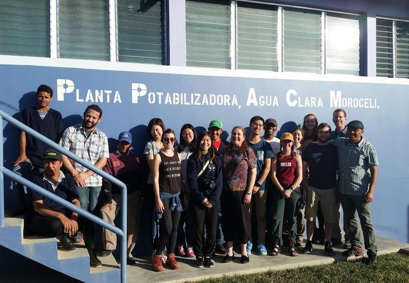 The AguaClara team at one of their drinking water treatment plants in Honduras.