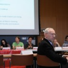 Provost Michael Kotlikoff speaks at the SA Meeting on Thursday evening.