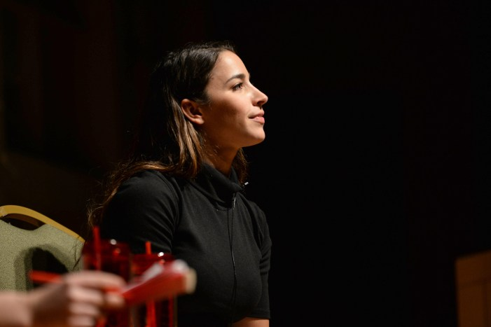 Six-time Olympic medalist Aly Raisman speaks in a lecture at Statler Hall on Wednesday.