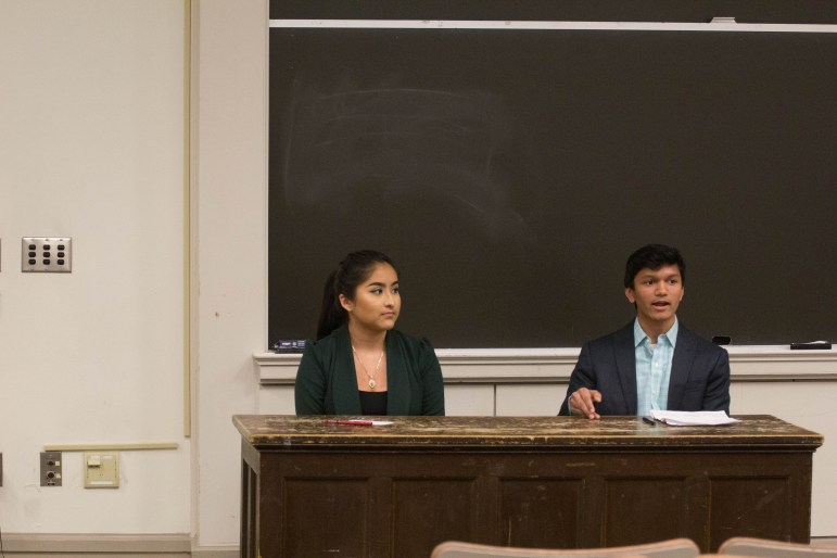 Student Assembly EVP candidates Maya Valadez '18 (left) and Varun Devatha '19 (right).