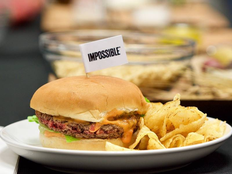 An Impossible Foods' plant based burger that Briana Cameron '13 consulted on.