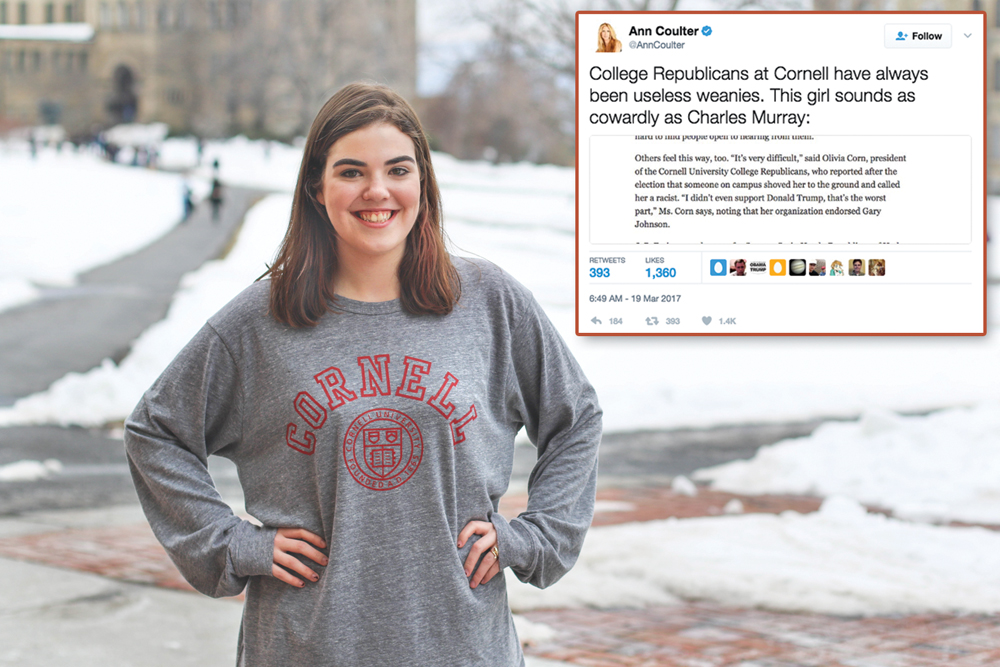 College Republicans Chair Olivia Corn '19 Shot back at Ann Coulter '84 after the pundit insulted her on Twitter over the weekend.