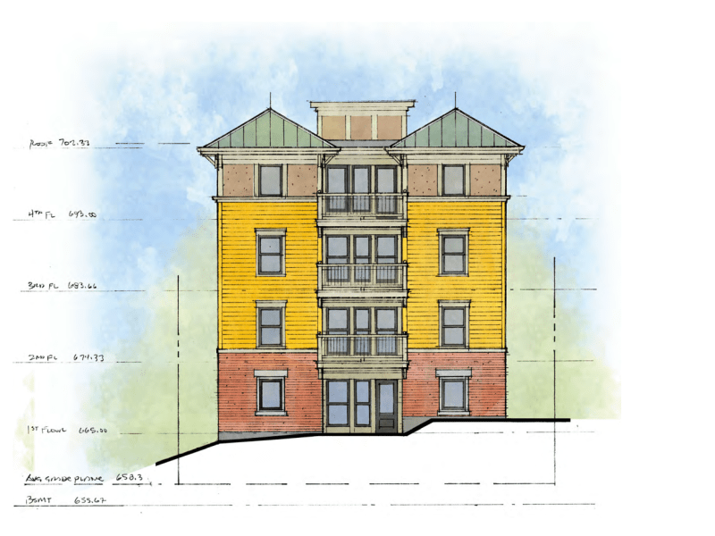 The new building at 118 College Ave. would have four stories and 28 bedrooms.