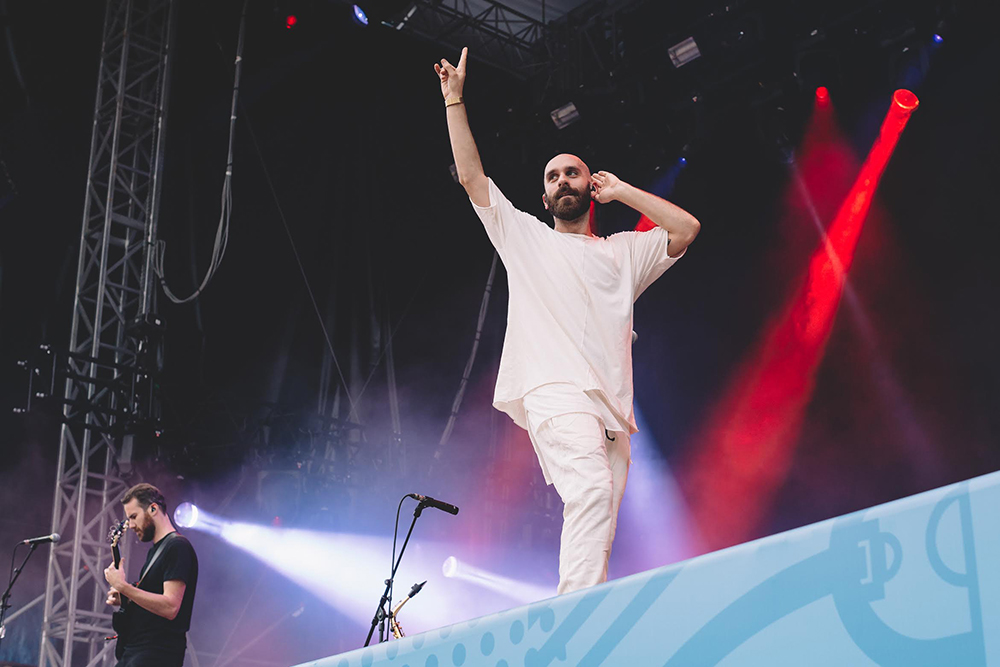 X Ambassadors' Sam Harris, who was one of the organizers of Cayuga Sound Festival, performing.