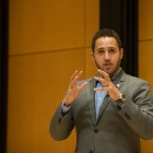 Svante Myrick speaks at a Cornell Political Union event in Klarman Hall, April 11.
