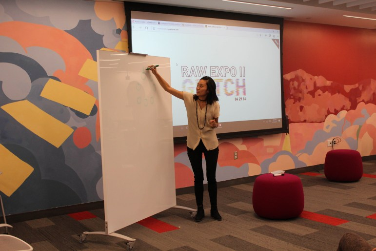 Pamela Chueh '17 details the process of starting Raw Expo at eHub's Creating Herstory event.