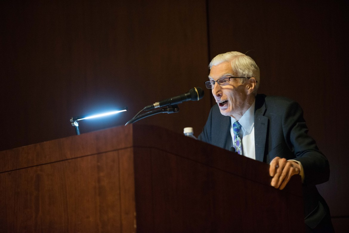 Lord Martin Rees, Emeritus Professor of Astronomy at the University of Cambridge, delivers the inaugural Carl Sagan Lecture in Call Auditorium on May 8, 2017.
