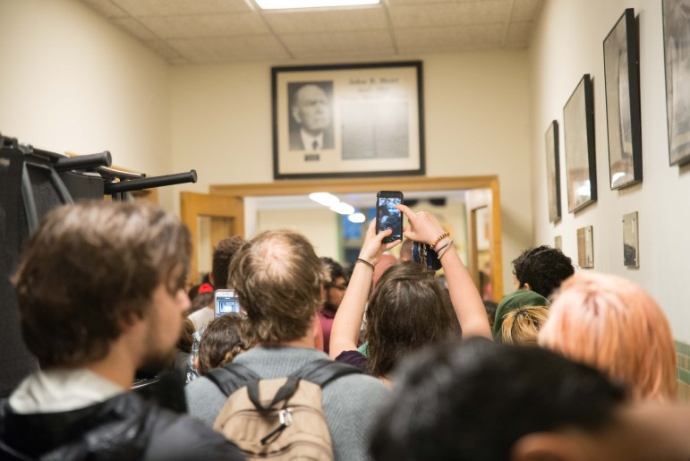 SJP and other organizations protest an Israeli Independence Day event in Anabel Taylor Hall.