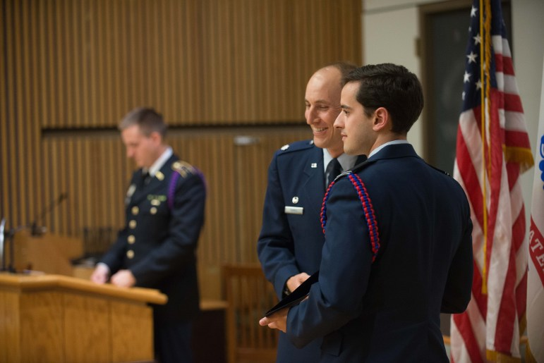 John Pedro '17 at the ROTC Ceremony in Hollis Cornell Auditorium on Tuesday.