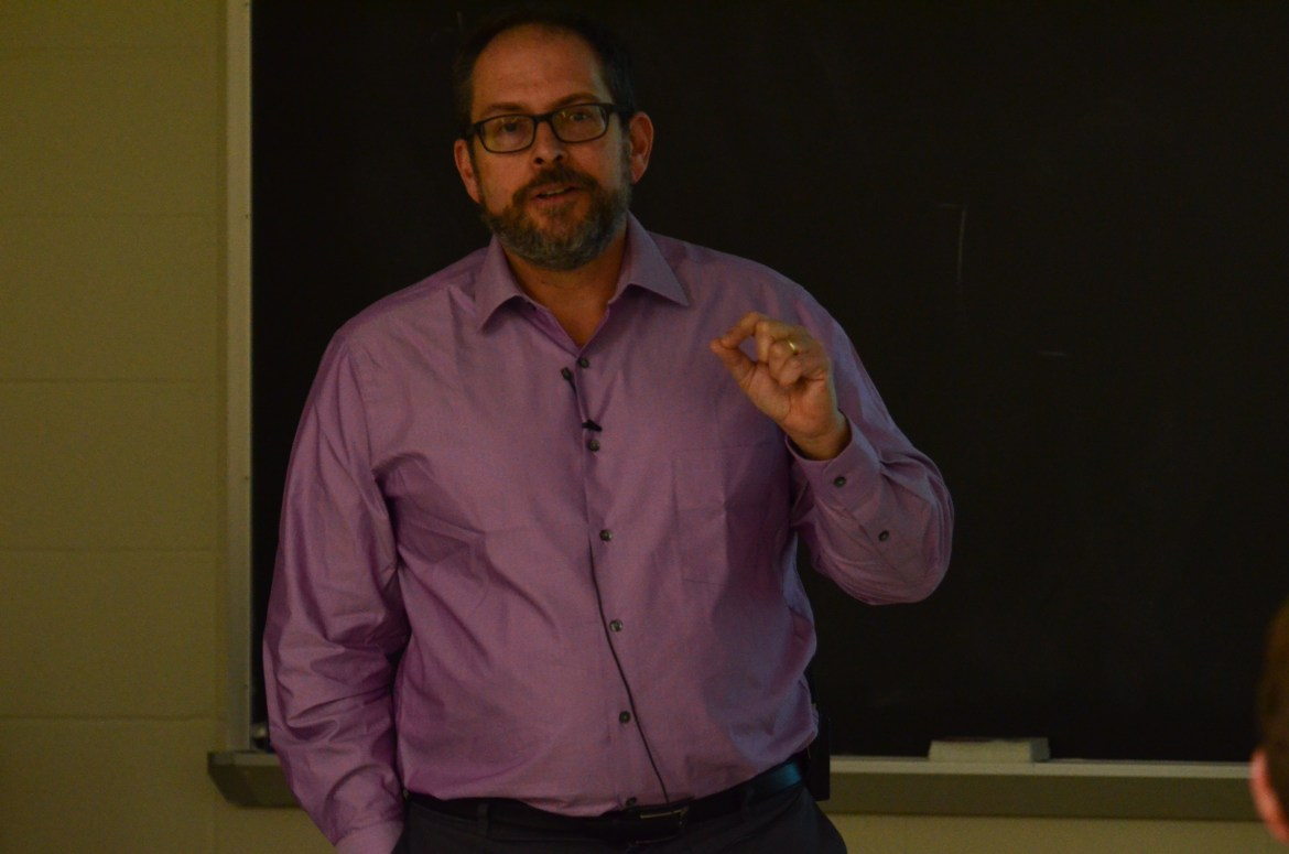 Prof. Jonathan Lunine at his talk on the intersection of science and religion, Thursday.