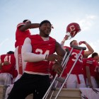 Miles Norris celebrates the team's Homecoming win over Yale last season, one of four he missed out on due to injury.