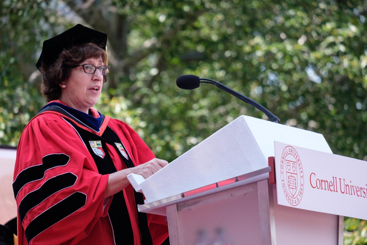 Martha Pollack delivers her inaugural speech as the 14th president of Cornell University. Pollack issued a letter to President Trump on Friday urging him not to end the DACA program.