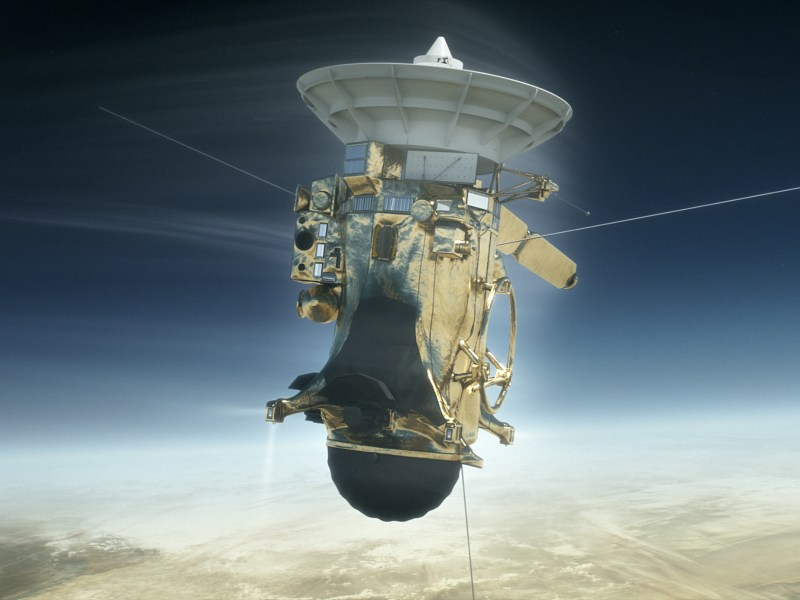 A computer-generated image of Cassini entering Saturn's atmosphere.