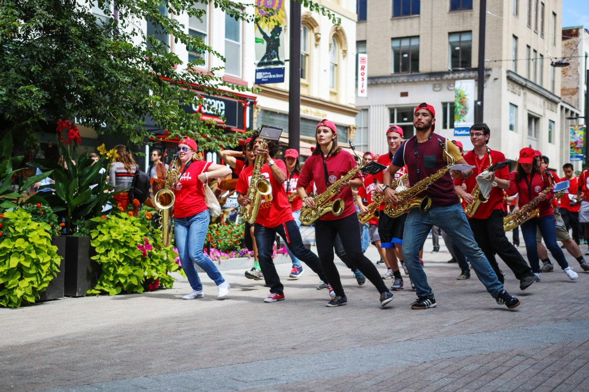 The Big Red Marching Band impresses the crowd at C.U. Downtown on Saturday.