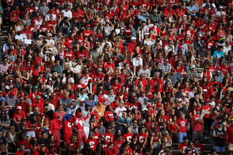 A 13,000-plus Homecoming crowd watch the Football match against Brown on October 21, 2017( Michael Wenye Li/ Sun Assistant Photography Editor)