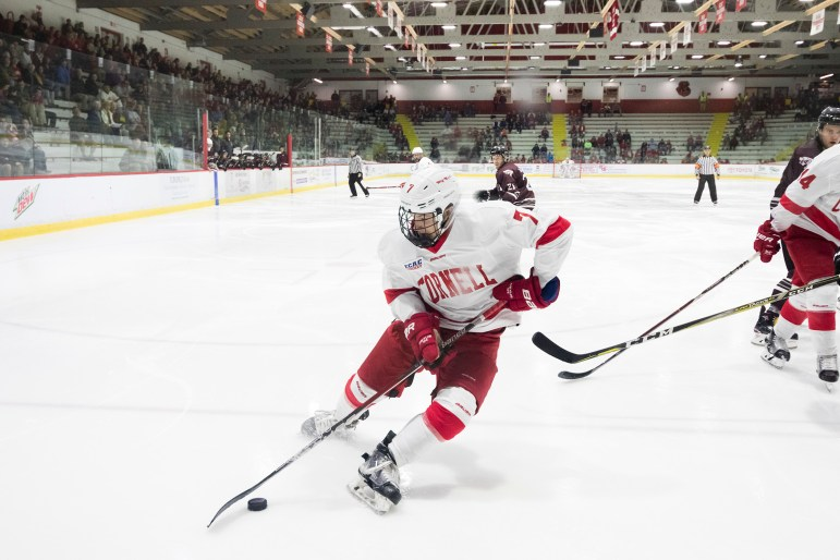 Freshman forward Cam Donaldson scored his first goal for Cornell against Guelph Saturday. He was one of nine freshmen who got a first look at the Lynah Faithful this weekend.