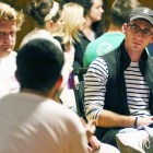 Drew Lord '18 (right), IFC president, participates in focus group discussion during Wednesday's summit.