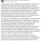 The post on Black Students' United's Facebook page that seeks to clarify their controversial demand was posted on Thursday.