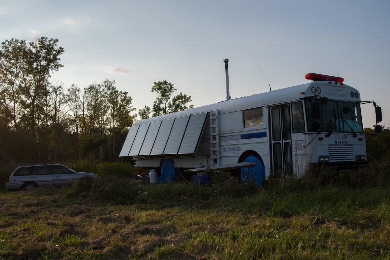 Eli Shanks' '18 school bus-turned-home in Trumansburg.