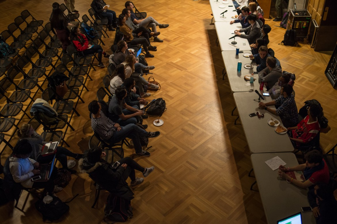 Community and S.A. members speak at a community forum in Willard Straight Hall.