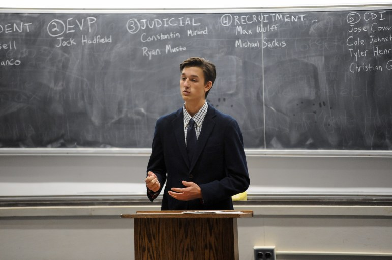 Luke Bianco, elected executive vice president of IFC, speaks at the election at Malott Hall on Nov. 9, 2017.