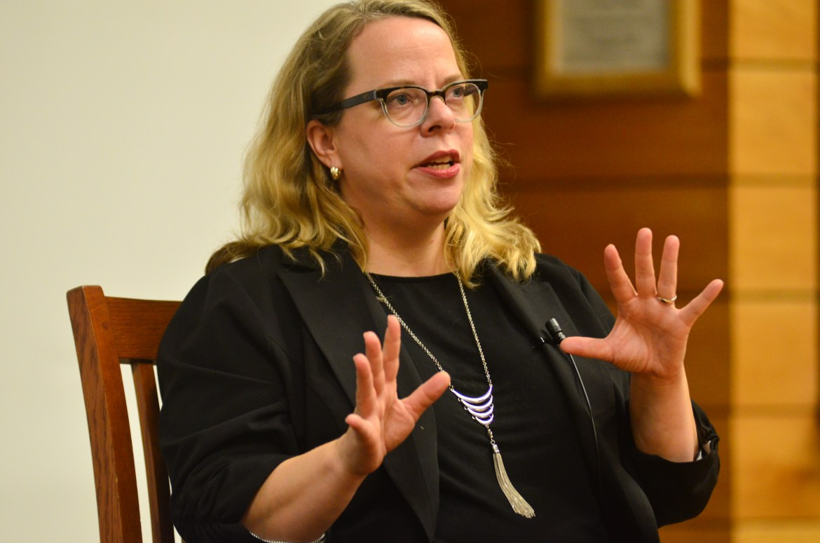 Kate Harding, a author and editor of Nasty Women: Feminism, Resistance, and Revolution in Trump's America, speaks in Goldwin Smith Hall on Wednesday evening.