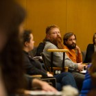 Elijah Weber-Han, graduate co-chair of the Cornell Cinema Student Advisory Board, speaks at Monday's GPSA meeting.