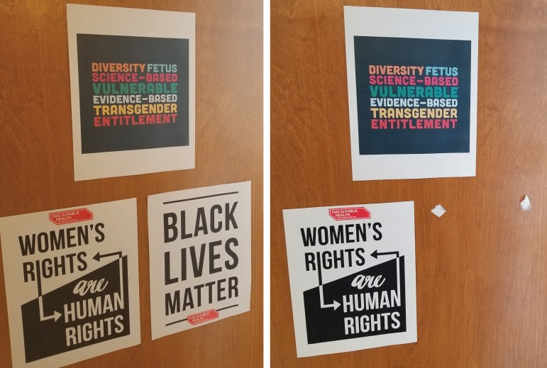 The Black Lives Matter poster was removed twice and, most recently, scratched out with pen. Police are investigating.