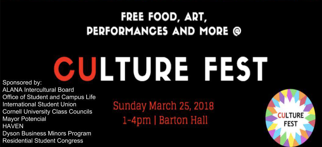 ALANA Intercutrual Board will be hosting the first Culture Fest this Sunday, March 25, in Barton Hall.