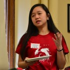 Student Assembly candidate Savanna Lim '21 speaks at the forum on Friday.