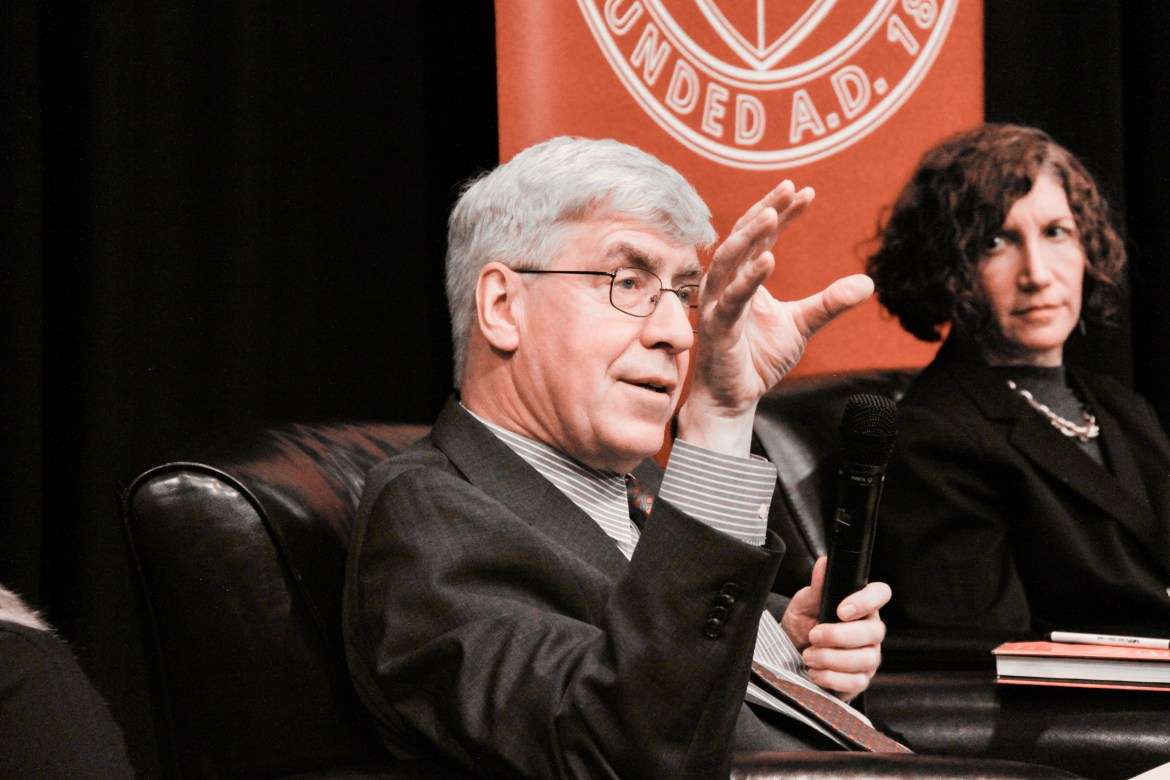 Scholars Jeremy Waldron, left, and Nadine Strossen, right, debated whether hate speech should be considered free speech at an event on Tuesday.