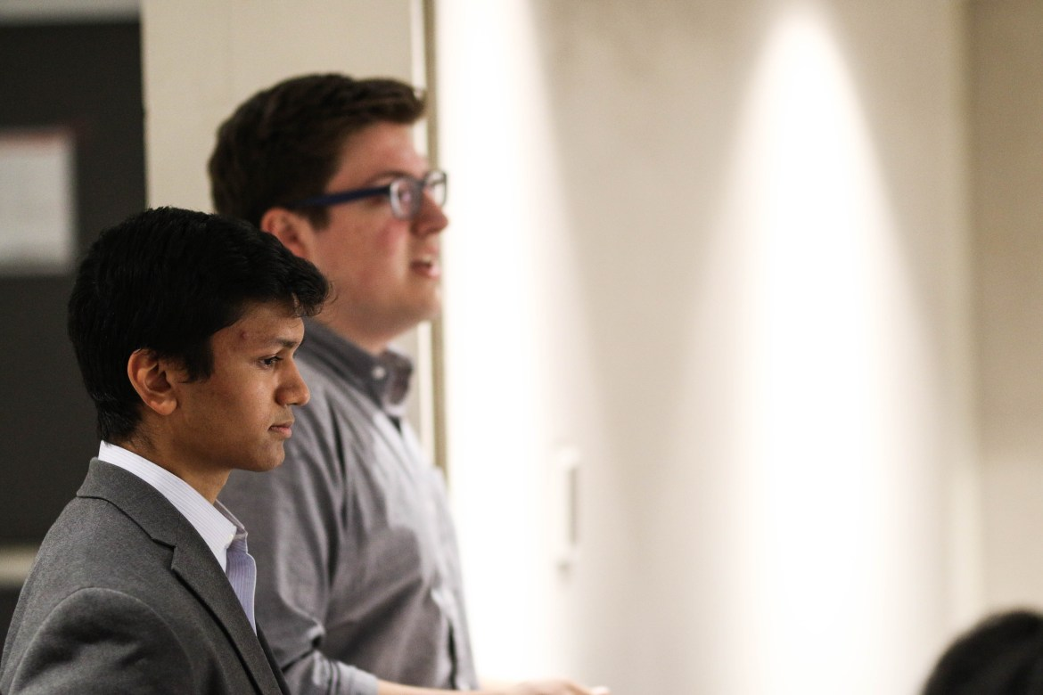 Varun Devatha '19, foreground, defeated Dale Barbaria '19 by 48 votes and will be the next Student Assembly president.