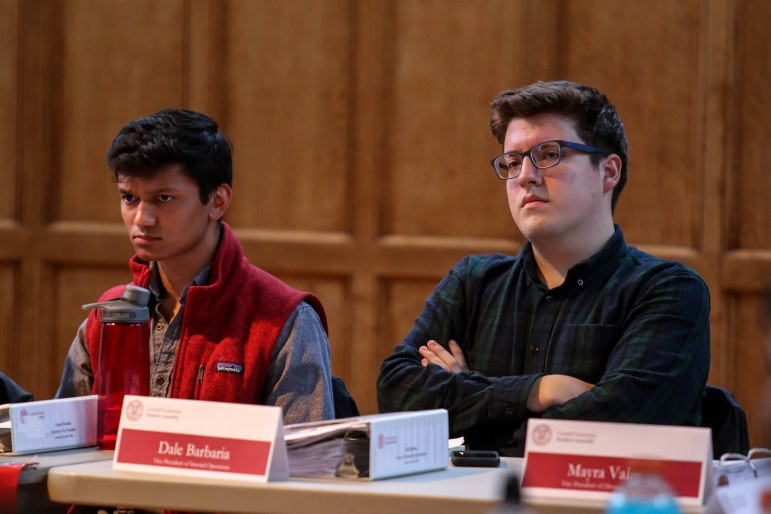 The candidates for Student Assembly president, Varun Devatha '19 and Dale Barbaria '19, at an S.A. meeting on Thursday, April 12, 2018.
