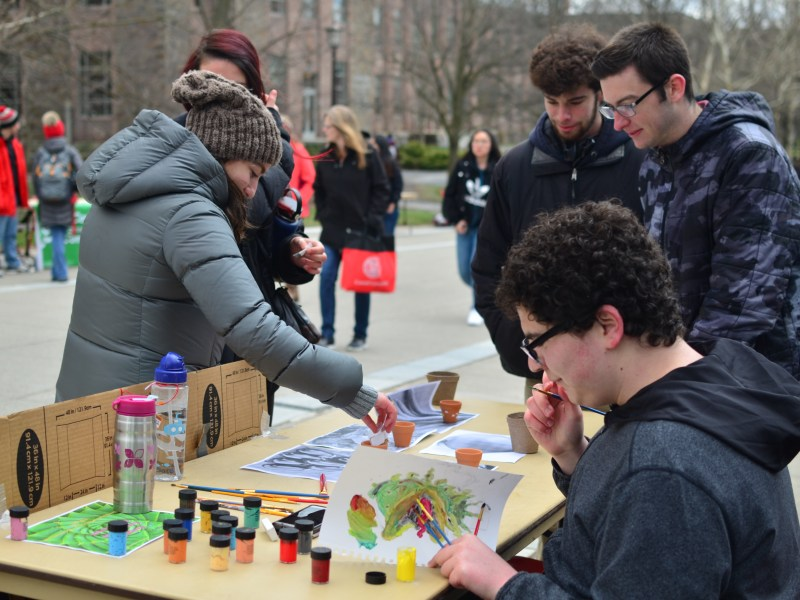 Students gather for activities on Ho Plaza for Springfest.