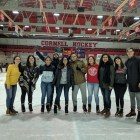 Some of the students from the University of Puerto Rico attend an event at Lynah Rink early in the semester.