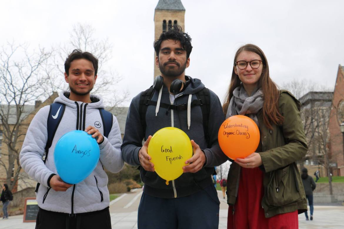 """Students signed balloons to detail what """"lifts"""" them on April 27 as part of a promotion campaign."""