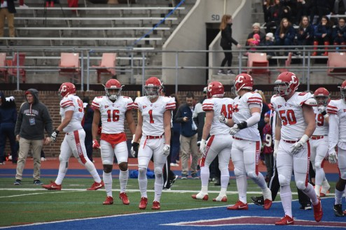 Look for Phazione McClurge (#1, center) to be a key player for the Cornell defense.