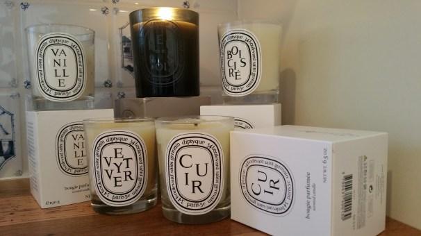 Diptyque candles Vanille, Feu de Bois, Bois Cire, Cuir, Vetyver