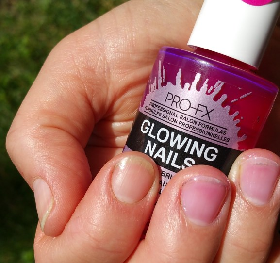 Swatch of Pro-FX Glowing Nail Polish and Bare Nail Index Finger