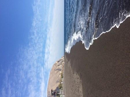 Pristine black pebble beach